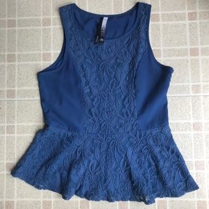 Kensie blue lace peplum top size medium